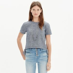 Madewell chambray side tie cropped top s